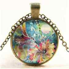Vintage Hummingbird With Flower Cabochon Glass Bronze Chain Pendant Necklace