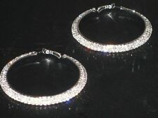 NEW (6140-11) wide big hoops diamante earrings silver