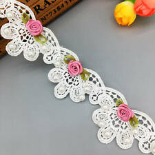 1 Yd White 3D Pearl Flower Lace Edge Trim Fabric Ribbon DIY Embroidered Wedding