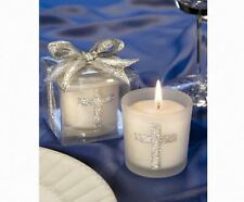 10 Silver Cross Votive Candles Gift Box, For Christening Baptism Party Favor