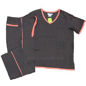 Medical Scrubs Set Women V-neck Top & Drawstring Pant Set SH505 Natural Uniforms