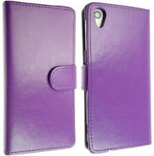 Purple Wallet Leather Flip plain Case with Card Slots For Sony Xperia Z1 L39H