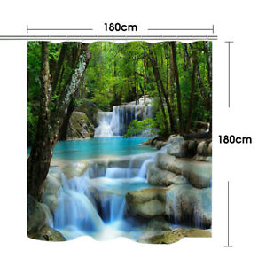 3D Waterfall Shower Curtain Non-Slip Bathroom Decor Toilet Cover Lid Rug Mat Set