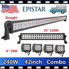 """42Inch 240W LED Light Bar+22"""" 120W Combo Ford Jeep+4X 4"""" 18W CREE Pods Off road"""