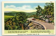 Greetings from Greenfield Park NY New York Driving Road Car Vintage Postcard C10