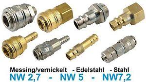 Druckluftkupplung Kupplungsstecker NW2,7 NW5 NW7,2 Messing/vernickelt Edelstahl