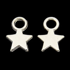❤ 50 x BRIGHT Silver Plated STAR Charms Findings 11mm Jewellery Making ❤