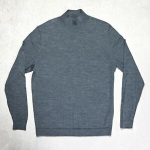 Mens CALVIN KLEIN Grey 100% Wool Knitted High Neck Jumper Size LARGE Sweater