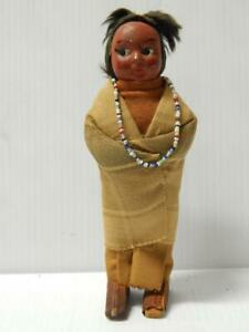 """VINTAGE SKOOKUM INDIAN DOLL 7"""" t - NICE OLD CLOTHING - VERY EARLY OLD  EXAMPLE"""