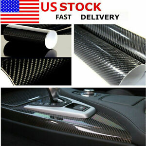 "12""x60"" Black Carbon Fiber 5D Premium High Gloss Glossy Vinyl Wrap For Auto Car"