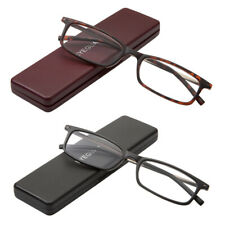 2Pairs Reading Glasses with Portable Case Slim Mini Pocket Readers for Women Men
