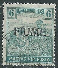 1918-19 FIUME USATO MIETITORI E VEDUTA 6 F SOPRASTAMPA MANO VI TIPO - P41-5