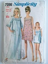 Vintage 1960s Simplicity Pattern 7096 | Baby Doll Pyjamas & Gown Sz 12 Bust 83cm