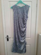 Next Maternity Womens Pastal Blue Crushed Velvet Rouched Drape Dress size 16 BNW