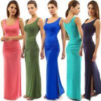 Womens Sexy Vest Bodycon Slit Dresses Ladies Summer Casual Fashion Bag Hip Dress