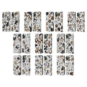 HEAD CASE DOG BREED PATTERNS LEATHER BOOK CASE & WALLPAPER FOR APPLE iPHONE