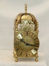 "Smiths English Lantern Clock Solid Brass Bell Strike Mantel Carriage 9""1/2 High"