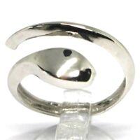 Ring Weißgold 750 18K, Schlange, Stilisiert, Made IN Italien, Geöffnet