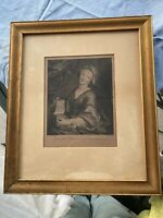 Antique Anna Magdalena Print Vintage Gold Picture Frame W/ Glass