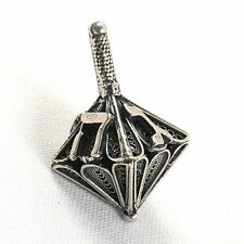 Decorative Sterling Silver Filigree Hanukkah Dreidel Jewish Spinning Top Hebrew