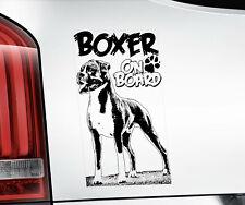 BOXER DOG Sticker, Window Bumper Decal Car Stickers Gift K9 On Board - V02B BLK