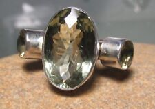 925 sterling silver 8gr cocktail GREEN AMETHYST/Citrine ring O½/US 7.5