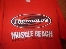 Muscle Beach CA Thermolife international XL orange t shirt lifes a beach