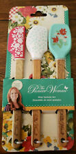 The Pioneer Woman Mini Silicone Spatula  Acadia Wood Handle 3 Piece Set New
