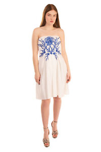 RRP €500 MARCHESA NOTTE Bandeau Dress Size 10 / L Pleated Embroidered Beaded