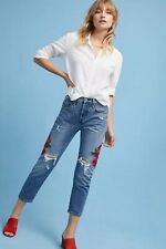 "Levi's 501 Rose Embroidered Ripped Cropped Jeans - Waist 27"" bnwt"