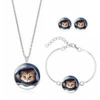 Set Cat's Face Earring Pendant Choker Necklace Bracelet Glass Cabochon Jewelry