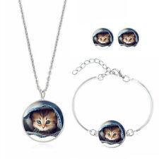 Conjunto de pendientes de la Cara de Gato Colgante Collar Gargantilla Pulsera de Vidrio Cabujón Joyería
