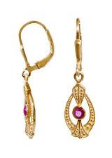 Jugendstil Ohrringe aus vergoldetem Sterlingsilber mit Rubinen