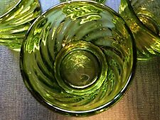 Handblown Swirl Pattern Green Glass Set 4 Mid Century Modern