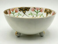 Antique Nippon Hand Painted White Floral Footed Fruit Dessert Dish Bowl-Nice!