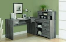 Monarch Dark Taupe Reclaimed-Look L Shaped Home Office Desk I 7318 I-7318 NEW
