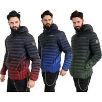 Mens Crosshatch Designer Padded Bubble Hooded Puffer Jacket Water Resistant Coat