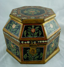 """Vtg India 6"""" painted & lacquered carved wood box w latch trinket jewelry octagon"""