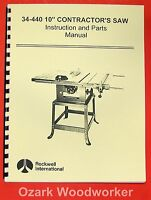 """ROCKWELL 34-440 10"""" Contractor's Saw Parts Manual 0603"""