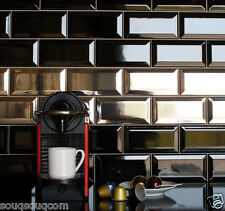Gloss Black Metro Victorian Style Bevelled Brick Kitchen Wall Tiles 10 X 20cm