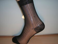 Patterned ribbed sheer nylon socks. BLACK with BLUE and WHITE side pattern