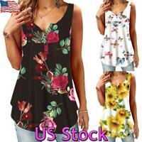US Women Loose Vest Floral Tank Tops Sleeveless Boho T Shirt Summer Tunic Blouse