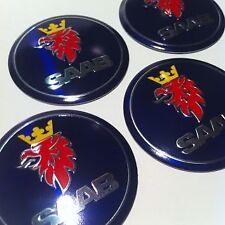 Saab 93 95 9-3 9-5 900 9000 Blue Wheel Centre Cap Logo Sticker Badge 55mm Set 4