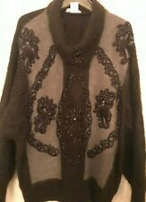 Women'S Sweater/80%Angora/Hand Embroider/Beads/Brown /Made in Korea