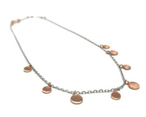 Sterling Silver 925 Anklet with Hanging Rose Gold Discs