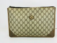 Auth GUCCI GG Pouch Clutch Hand Bag Purse Brown PVC Leather 56612080