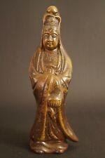 Japanische Kannon Buddha Figur aus Bizen Keramik Statue Figurine