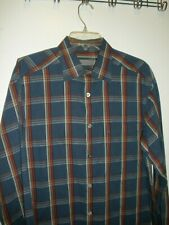 TALBOTS Men Dress/Casual Shirt Blue Red Gold Plaid Size M  Excellent