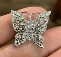 Vintage Silver Tone & Rhinestones Butterfly Lapel Tack Pin