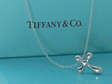 Tiffany & Co. Silver Peretti Cross Charm Pendant 16.5. L Chain Necklace 18428B